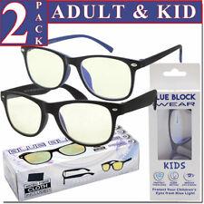 Blue Light Glasses Blue Blocking Computer Gaming 2 PACK Glasses Combo Adut Kids!