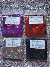 Nail Art Glitter Mix 4 x 5g Bags Love Hearts 4mm Silver Chunky Pink Valentines