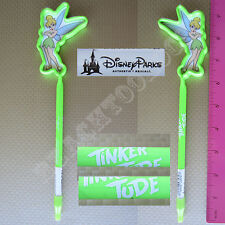 New Authentic Original Disney Green Tinker Bell Outline Stick Pen w/ Cap - Gift