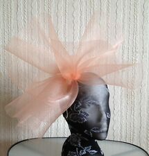 nude peach coral feather headband fascinator millinery hat wedding ascot race
