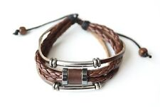 NEW Leather Hemp Braid Beaded Bracelet Wristband Vintage Cuff Brown Tribal
