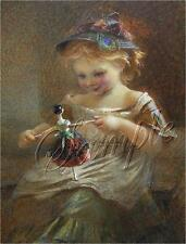 VINTAGE GIRL ANTIQUE DOLL PEACOCK FEATHER CANVAS ART PRINT BIG