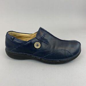 CLARKS UNSTRUCTURED 'Un Loop' Navy Leather Slip On Flat Comfort Shoes 39.5 UK6 D