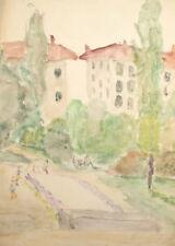 Vintage Landscape Cityscape Watercolor Painting