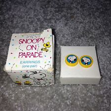 Vintage AVON Snoopy on Parade One Pair of Retro Earrings in Original Box - RARE