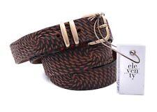 NWT ELEVENTY BELT BROWN calf leather geometric luxury Italy eu 100 us 39