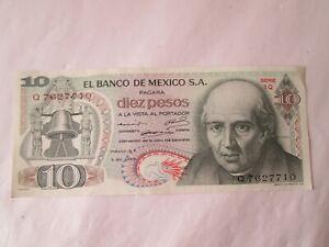 Banknote,Mexico,1969 (unc) 10 pesos. Excellent Condition