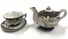 4 Piece Hand Painted Porcelain Umarked Dragonware Play Tea Set Miniature