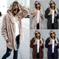 Women's Loose Faux Fur Cardigan Hoodie Hooded Sweater Parka Coat Jacket Outwear
