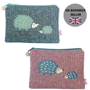 Hedgehogs Large Coin Purse - Hedgehog applique - herringbone wool