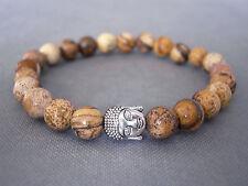 Handcrafted Semi Precious Stone Bracelet with Jasper Beads & Silver Buddha Head