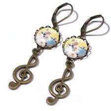 Ohrringe mit GLAS-Cabochons, Bronze-Vintage-Look, Musiknoten, Ohrhänger, 0549