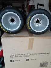 2 New Dunlap Go Cart Or Mini Bike Tires And 2 Used Aluminum Rims