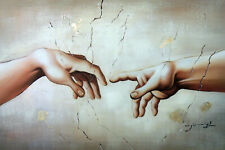 Creation Of Adam Michelangelo Vatican Chapel Repro Large Oil Painting STRETCHED