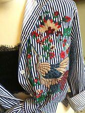 ZARA Stripe Embroidered Shirt Blouse Blue/White. Size Medium UK 10/12 BNWT