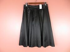 SK09896- NWT BANANA REPUBLIC Woman Silk Cotton Flared Skirt Pockets Black 6 $108