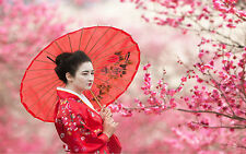STUNNING GEISHA GIRL BLOSSOM TREES #275 JAPAN CANVAS PICTURE A1 SIZE WALL ART
