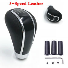 5 Speed Black Leather & Metal Manual Car Gear Shift Knob Shifter Lever Universal