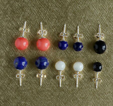 925 sterling silver stud earrings with various semi precious round stones