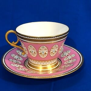 Old Antique c1880 Brown Westhead Moore TeaCup Saucer Set Pink Turquoise & Gold