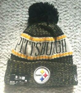Pittsburgh Steelers NFL Knit Hat New Era On Field Pom Black Gold NWT Pom Pom