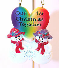 Women's Gay Pride-Ornament-Our 1st Christmas Together-Snowwomen-Holiday!