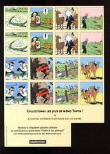 JEUX DE MÉMO    PLANCHE 2    TINTIN ET MILOU MOULINSART 2004  HERGE