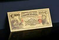"<GEM>1875 OLD RED SEAL SERIES ""GOLD"" $100 DOLLARS Rep* Banknote W/COA~US SELLER!"
