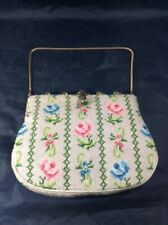 Switkes Needlepoint Flowers Handbag i Clutch Purse Vintage Pink  Blue Flower Bag