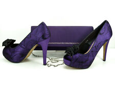 Matching Shoes and Bag Purple Black Lace Satin Shoes Peep toe 4.5'' Heel