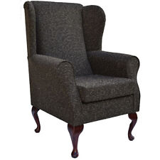 Cocoa Weave Fabric Wing Back Orthopaedic Fireside Chair - NEW