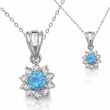 Round Cut Blue Fire Opal / White CZ Sun Halo Design Sterling Silver Necklace