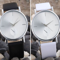 Fashion Men's Women's Simple Couple Wristwatch Leather Band Analog Quartz Watch
