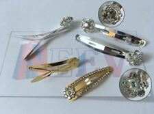 4 Crystal Diamante Metal Bendies Sleepies Hair Snap Clips Grip Slides for Girls