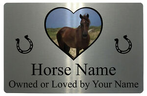 Personalised Horse Name Photo Metal Aluminium Plaque Sign For Stable Door 4 Size