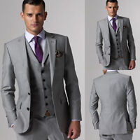 Business Men Suits Regular Fit Coat Vest Pants Set Tailored Work Groom Tuxedo
