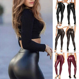 FITTOO Women Fashion Printed PU Leggings Sports Pants Disco Queen New Stretch US