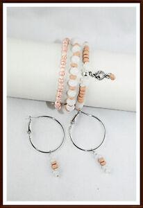 Sommer Schmuckset  Armband Perlen Ohrringe Silber Kokusperlen farbig Geschenk