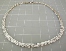 """Sterling Silver 925 Diamond Cut BRAIDED WOVEN Style Neck Chain 28.1Grams 24"""""""