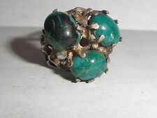 Vintage  modernist Brutalist sterling silver turquoise  pinky ring size 4