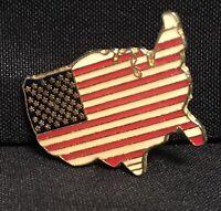 Vintage USA FLAG PATRIOTIC Enamel Goldtone Lapel Hat Vest Pin Brooch