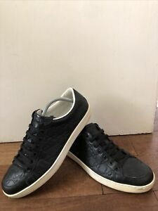 Gucci GG Embossed Black Leather Trainers / Sneakers Mens UK9 EU43 ACE