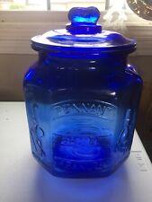 Planters Mr. Peanut PENNANT 5¢ PEANUTS Cobalt Blue Glass Octagonal Jar With Lid