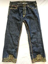 The Year of Jeans The Dog Urban Baggy Dark Wash Metallic Embroidery Size 38 X 31