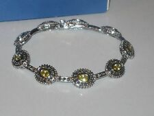 Lots Of Sparkle -Gorgeous & Very Rare Lia Sophia Citrine & Hematite Bracelet -