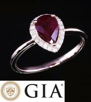 GIA Certified NATURAL 1.29 CT RED RUBY and DIAMOND GOLD 18 KT RING 18ct