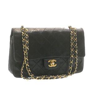 CHANEL Lamb Skin Matelasse 25 Double Flap Chain Shoulder Bag Black CC Auth 22345