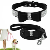 Rhinestone Dog Collar and Leash Soft Suede Bow for Doggie Puppy Cat Small Pet US