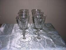 #P  SET OF 6 VINTAGE ETCHED CLEAR CRYSTAL WINE/WATER GLASSES FLORAL STEMWARE