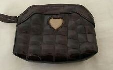 Brighton brown  patent leather gold heart coin card case NWOT